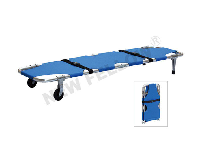 Blue Aluminum Alloy Wheeled Emergency Folding Stretcher ISO9001 / 13485