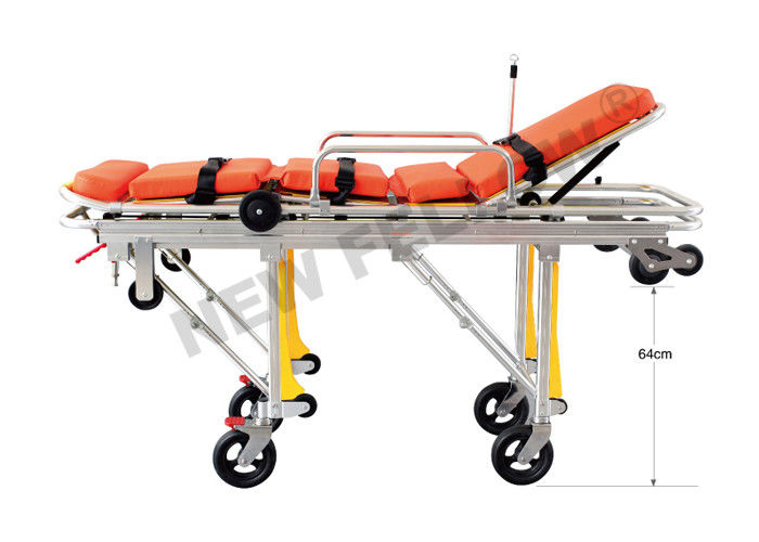 Flexible Heavy Duty Big Ambulance Stretcher Chair Trolley , Folding Stretcher With Wheels