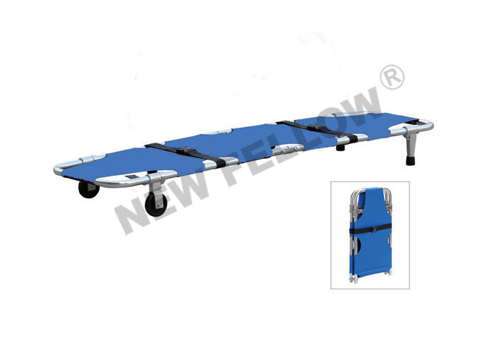 Hospital Aluminum Emergency Folding Stretcher Ambulance Stretcher Trolley With 2pcs Belts
